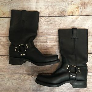 Frye 12R Black Leather Harness Boots 9 M